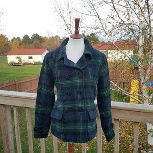 American Eagle Blue & Green Plaid Wool Coat